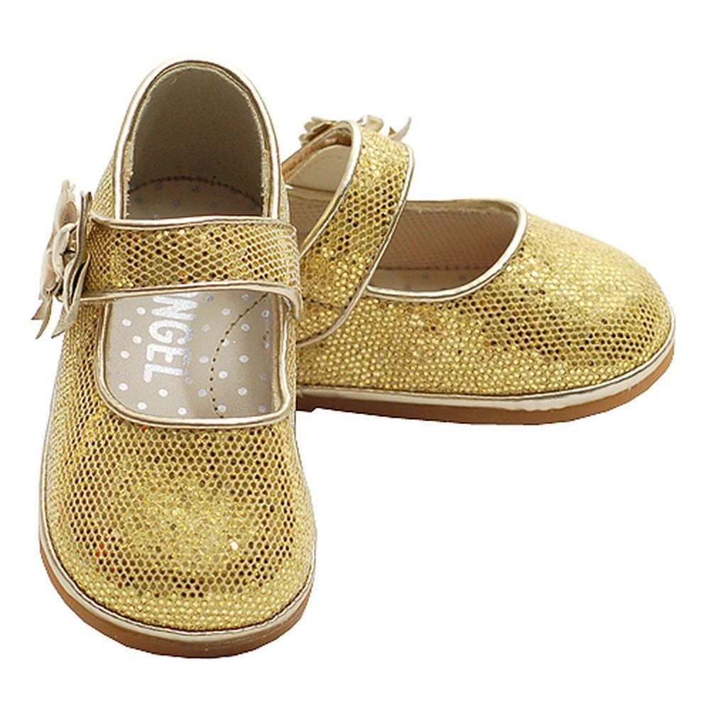 Baby Toddler Girl Gold Sparkle Mesh Mary Jane Hook Loop Shoe 1-7