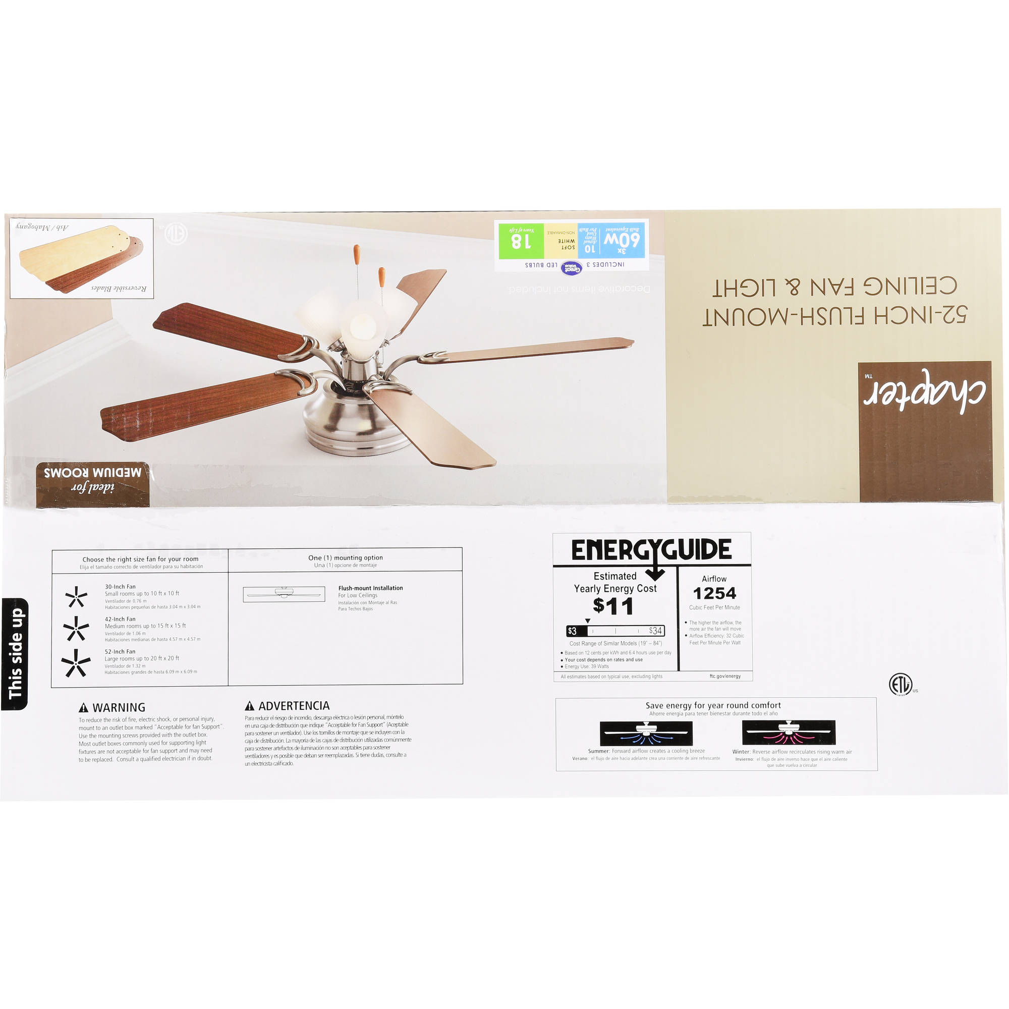 "52"" Chapter Ceiling Fan 3 Light Hugger Aged Brass Walmart"