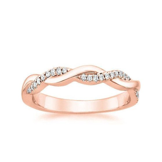 Wedding Ring On Sale.Limited Time Sale Infinity Curved Diamond Wedding Ring Band In Rose Gold For Women On Sale