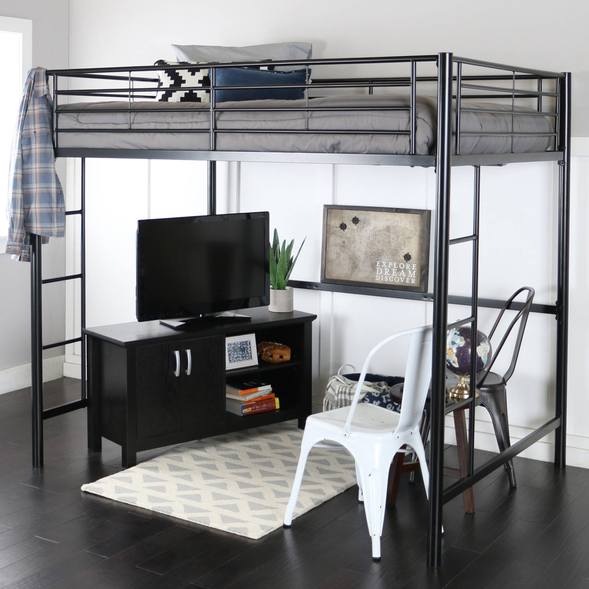 premium full size black metal loft bed walmartcom