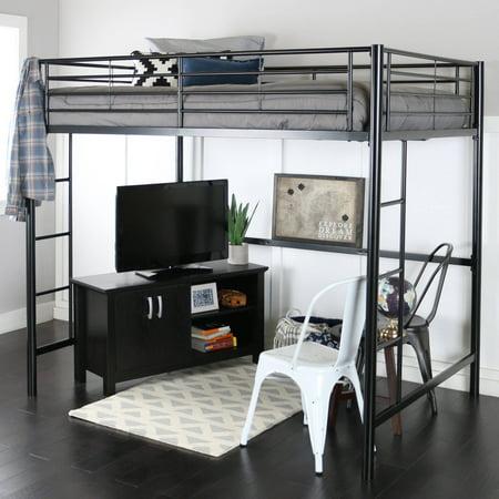 Walker Edison Full Size Metal Loft Bed - Black