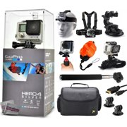 GoPro Hero 4 HERO4 Silver CHDHY-401 with Headstrap + Chest Harness + Suction Cup + Handgrip + Floaty Strap + Wrist Hand Glove + Selfie Stick + Large Padded Case + HDMI Cable + Tripod adapter