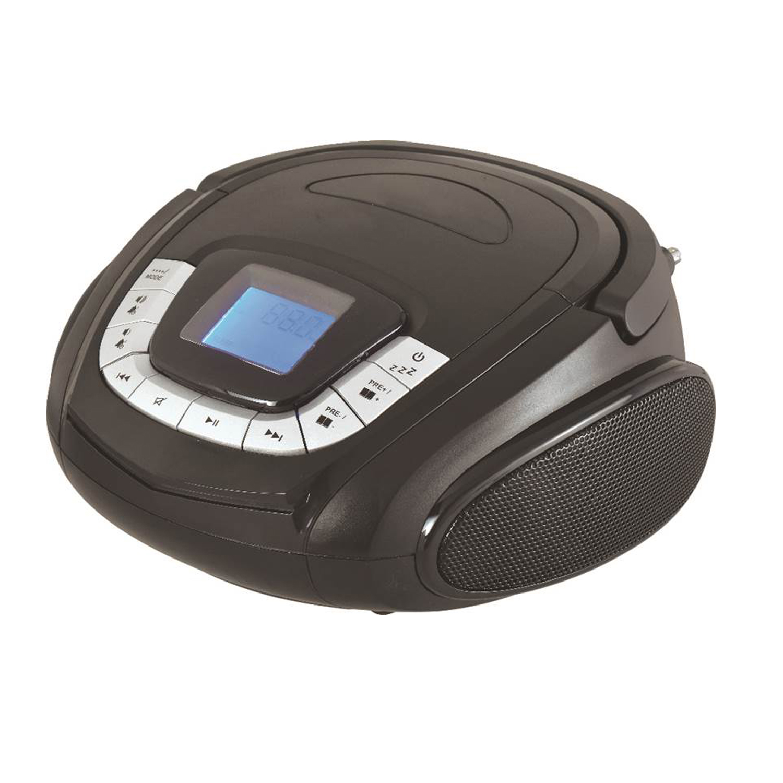 SYLVANIA SRC1227BT Portable FM Radio & CD Player Bluetooth Boom Box