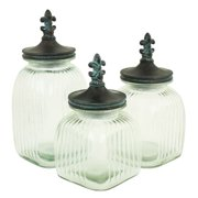Aspire Home Accents 4233 Riley Glass Jars with Lids (Set of 3)