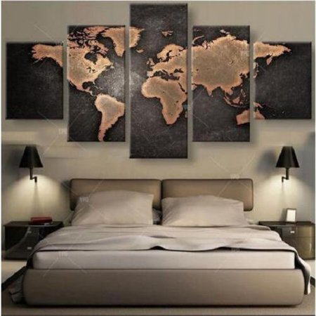 Large Canvas Oil Painting (World Map Oil Painting Picture Print Large Canvas Modern Home Wall Decor)