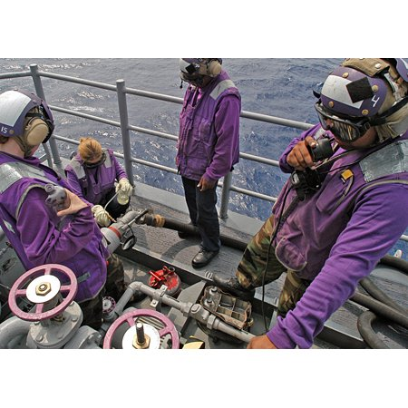 LAMINATED POSTERSailors from the Aviation Fuels Division check a sample of JP-5 fuel to ensure it is free from debri Poster Print 24 x (Fuel Sampler)