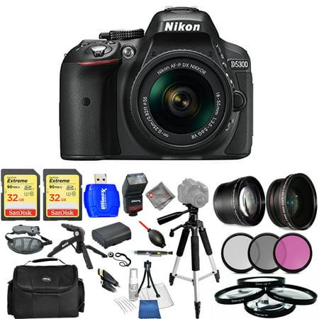 Nikon D5300 DSLR Camera with AF-P 18-55mm VR Lens (Black) - USA Model Mega