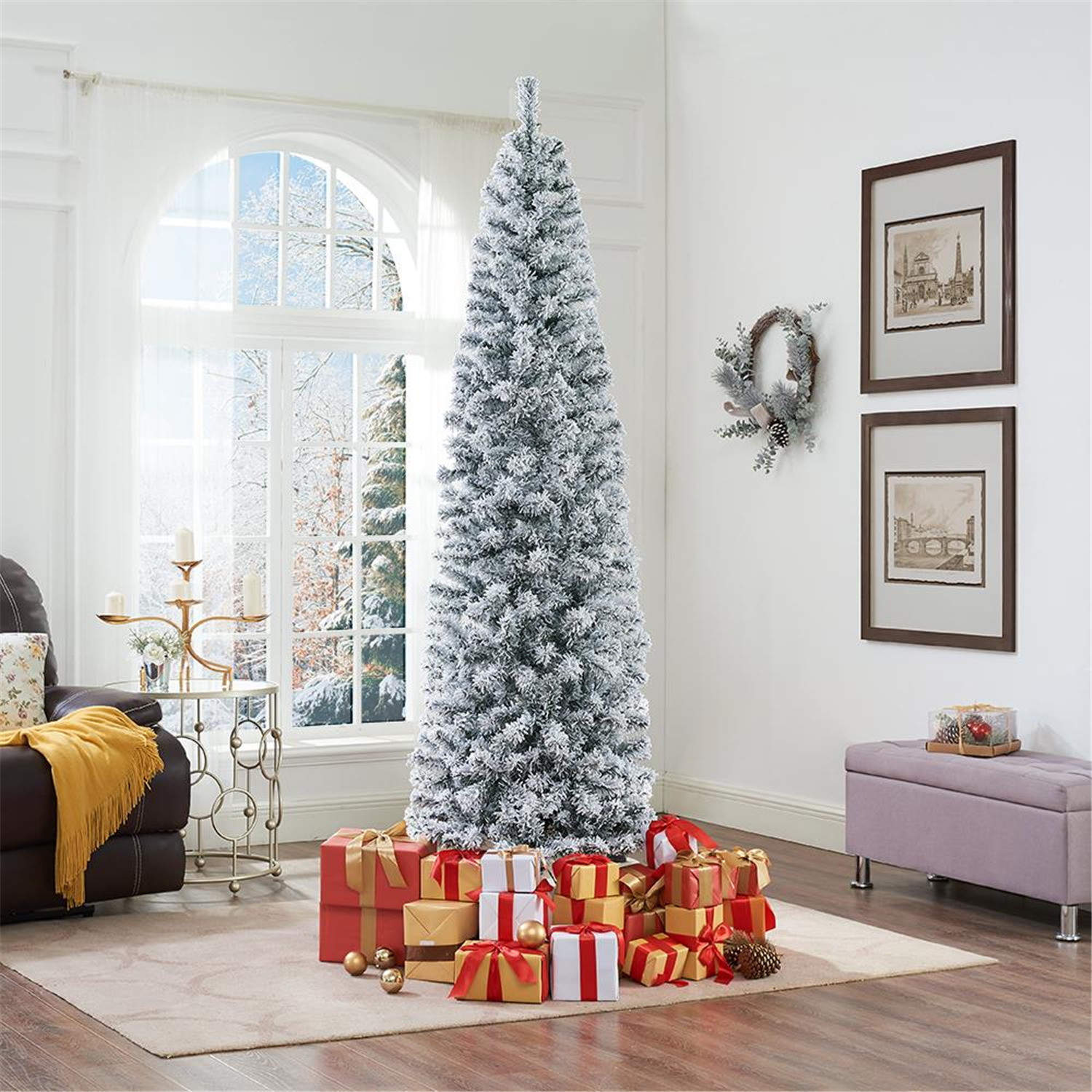 Naomi Home Snow Frosted Artificial Spruce Christmas Tree Color Green Size 7 5 Ft Width 26 Walmart Com Walmart Com