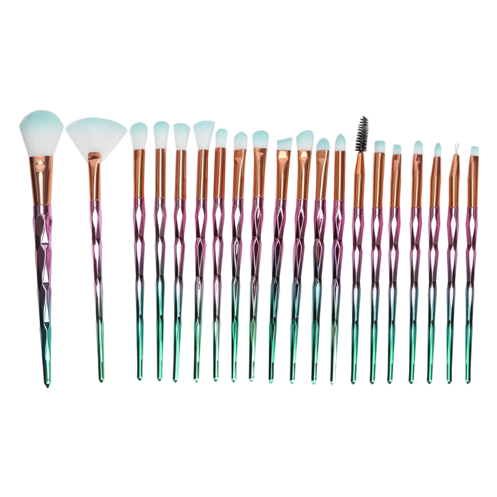 TKOOFN 20Pcs Diamond Makeup Brush Set Foundation Blush Eyeshadow Brushes Kit Tools