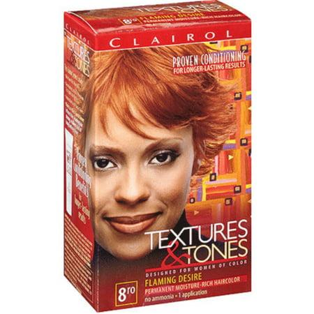 Clairol Textures & Tones Permanent Moisture-Rich Hair Color, Flaming Desire, 8RO