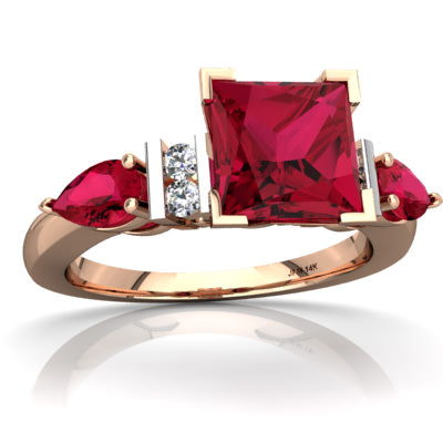 Lab Ruby Engagment Ring in 14K Rose Gold by