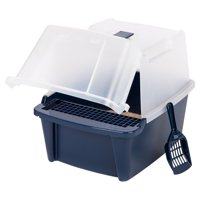 IRIS USA, Large Split-Hood Litter Box with Scoop and Grate, Blue