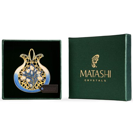 Matashi Religious Symbols Hanging Wall Ornament (Pewter) Gold-Plated Hand-Painted Ornament Good Luck Home Decor Wall Mounted Art Hanging Pendant Spiritual Gift for Holiday Festival (Blue Pomegranate)