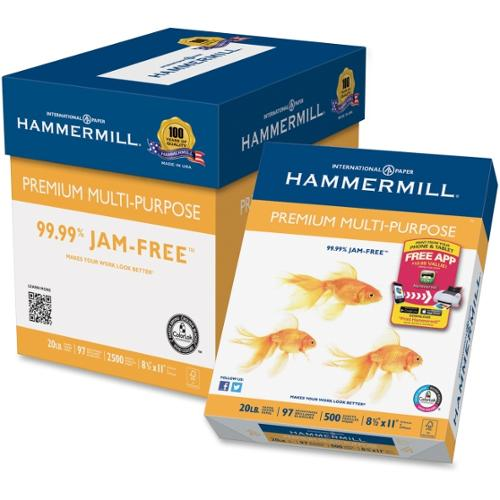 "Hammermill Premium Copy & Multipurpose Paper - Letter - 8.50"" x 11"" - 20 lb Basis Weight - 75 g/m�� Grammage - 0% Re"
