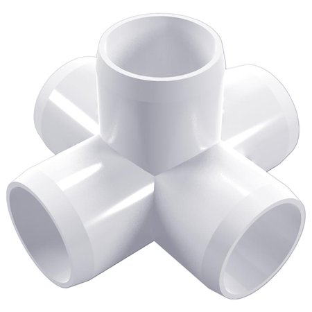 "5-Way PVC Cross Fitting, Furniture Grade, 3/4"" Size, White (Pack of 4)"