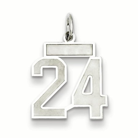 9mm Laser Etched Italian Charm - 925 Sterling Silver Small Number 24 Pendant Charm Necklace Sport Laser Etched Gifts For Women For Her