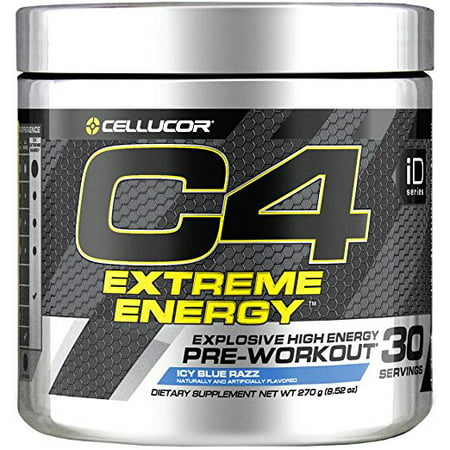 Cellucor C4 Extreme Energy Pre Workout Powder, Explosive High Energy Drink with Beta Alanine, Icy Blue Razz, 30