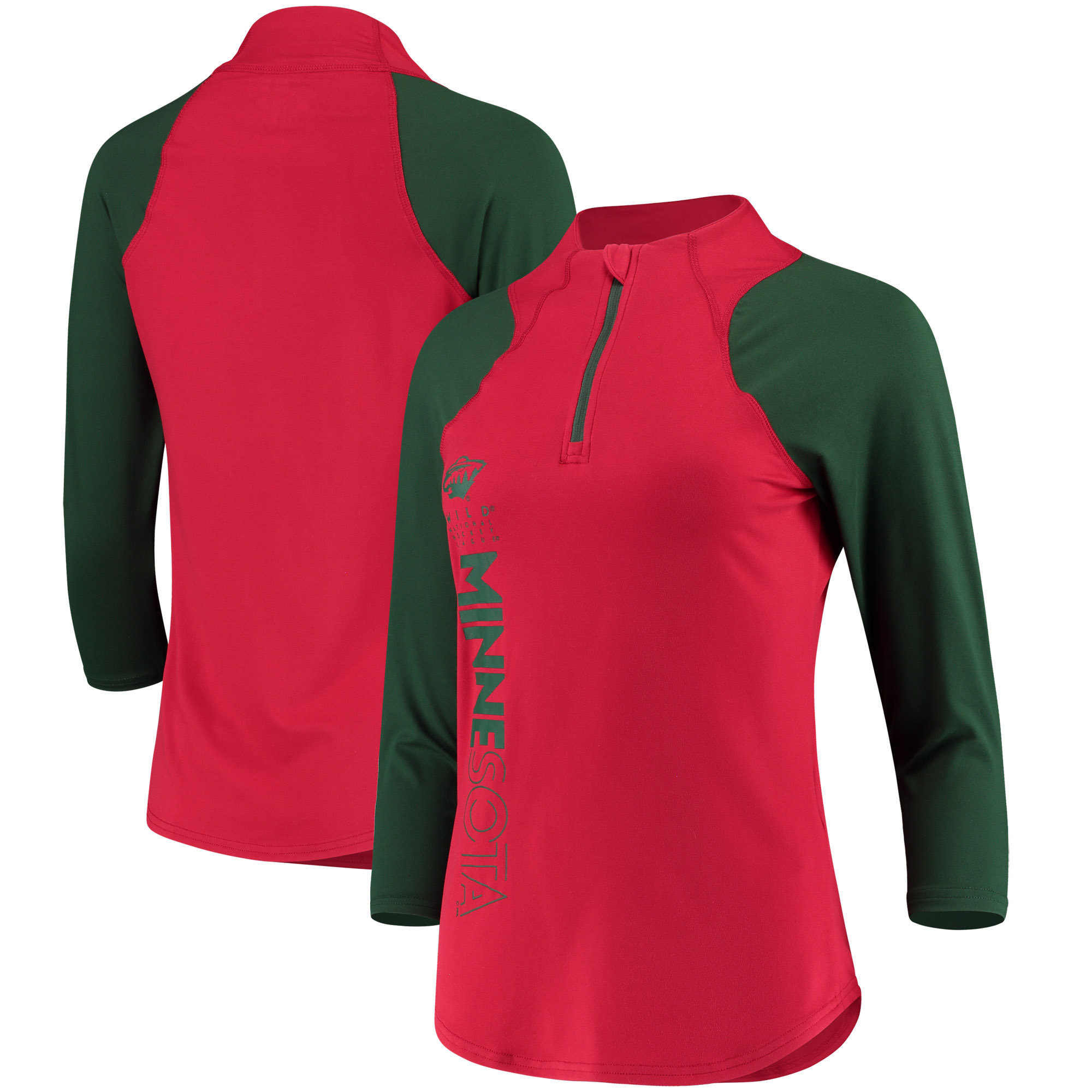 Minnesota Wild G-III 4Her by Carl Banks Women's Zip It Up Quarter-Zip Long Sleeve T-Shirt Red Green by G-III LEATHER FASHIONS INC