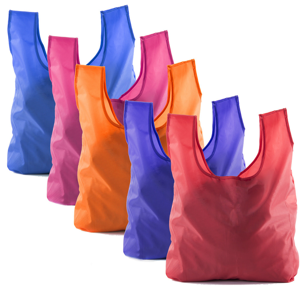 Reusable Grocery Bags | Foldable w/ Integrated String Pouch | Ripstop Nylon Tote - 5PK Bright Mix CA2650