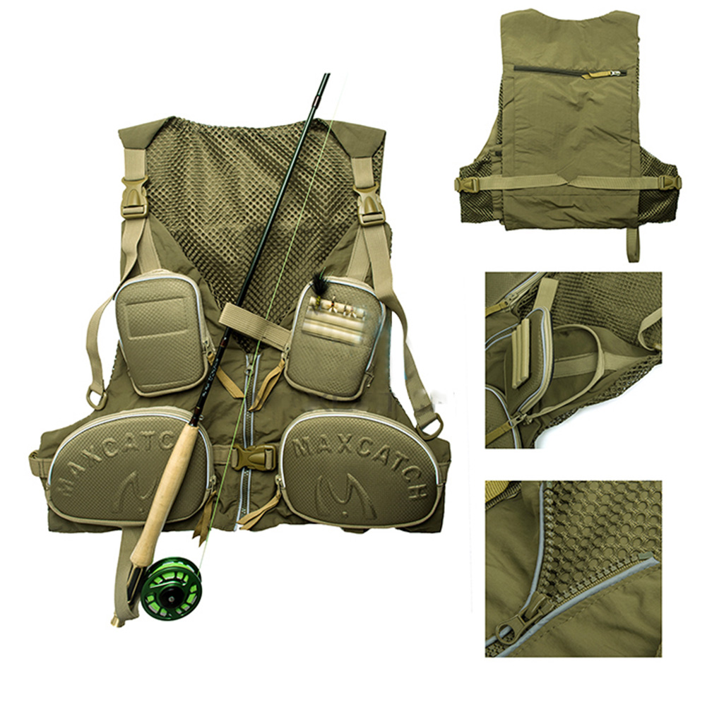 Men's Multi-pocket Super Light Quick-dry Adjustable Fishing Vest Mesh Vest Color:Army Green by