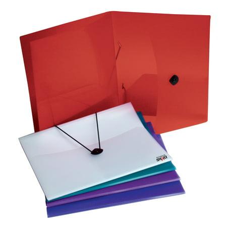 - School Smart Polypropylene 4 Pockets Portfolio, Assorted Color