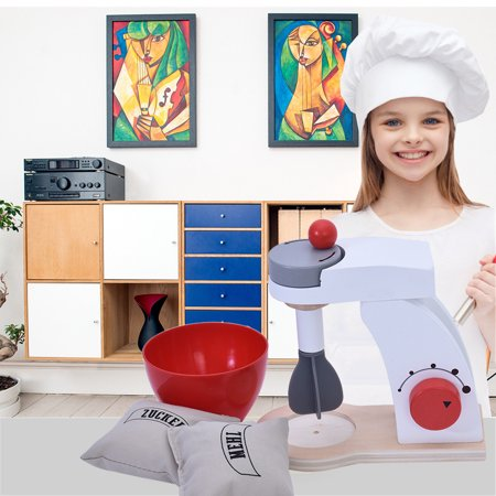 Wooden Simulation Make-a-Cake Mixer Set With A Crank That Spins Mixer Wood Chip WoodenSimulation Make-a-Cake Mixer Set With A Crank That Spins Mixer Wood Chip Feature:Delicious amounts offun! The Wooden Make-a-Cake Mixer Set is a fabulous addition to any playkitchen, inspiring young chefs to discover the joy of baking throughimaginative play.   Moving parts, like acrank that spins the mixer blade and a turning dial. Quality woodconstruction means this set will be an essential play kitchen appliance foryears to come.Hands-on cooking playdevelops fine motor skills and encourages creativity and imagination.Kids love playing houseindependently or with friends, and this mixer lets them pretend to whip upimaginary desserts just like they see grown-ups do. There are lots of ways tolearn and play with this wooden mixer set for helping kids develop numbersense, language, and problem-solving skills.  Parameters:Material: WoodenWeight: about 1 LBProduct size: 6.5 x 3.5 inchesPackagesize: 6.5 x 6.7 x 4.1inchesFor ages 3+ Package content: 1x SimulationMake-a-Cake Mixer Set