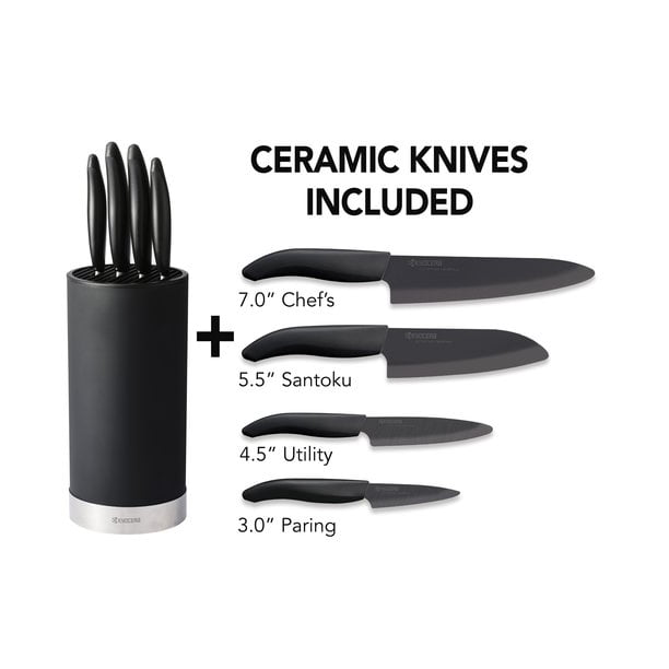 Kyocera Advanced Ceramic Revolution Series Knives + Universal Block 5PC Set: 7? Chef?s, 5.5? Santoku, 4.5? Utility and a 3? Paring knife and a Black Universal Storage Block