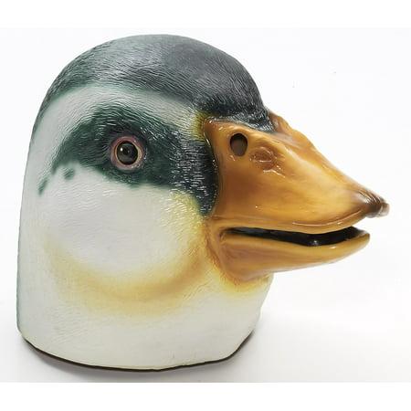 Latex Animal Costume Mask Adult: Mallard Duck