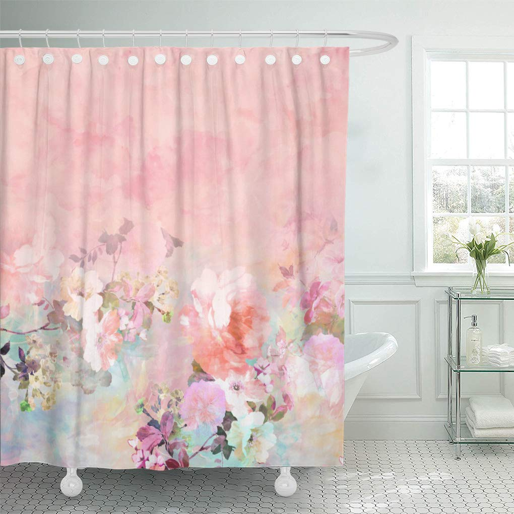 CYNLON Pink Modern Blush Watercolor Floral Purple Roses ...