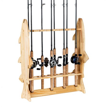 Organized fishing floor rack pine for Walmart fishing pole holder