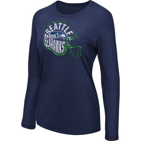 Women's Majestic College Navy Seattle Seahawks Turn it Loose Long Sleeve T-Shirt (Indian Seahawk)