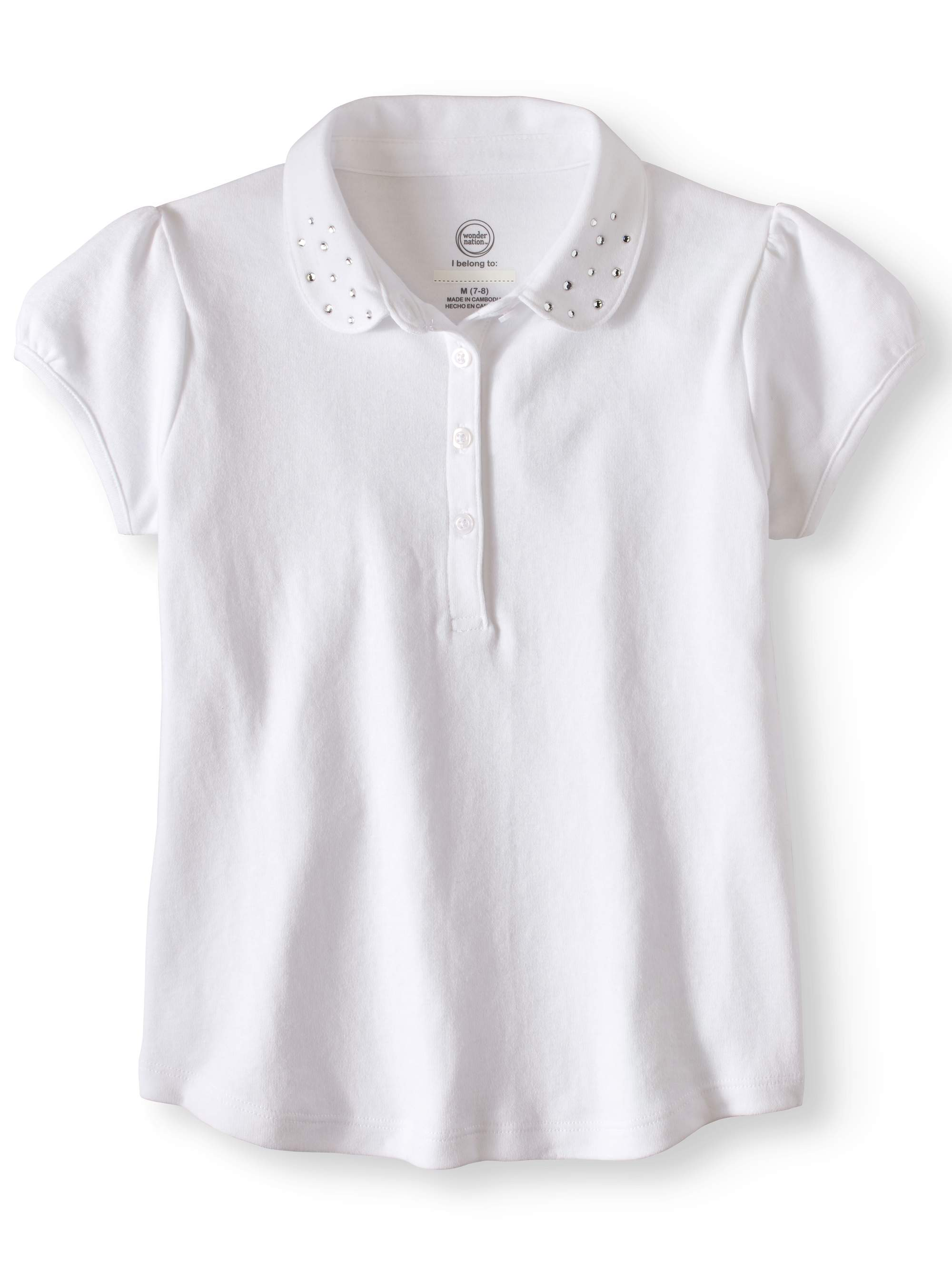 Wonder Nation Girls' School Uniform Short Sleeve Rhinestone Polo
