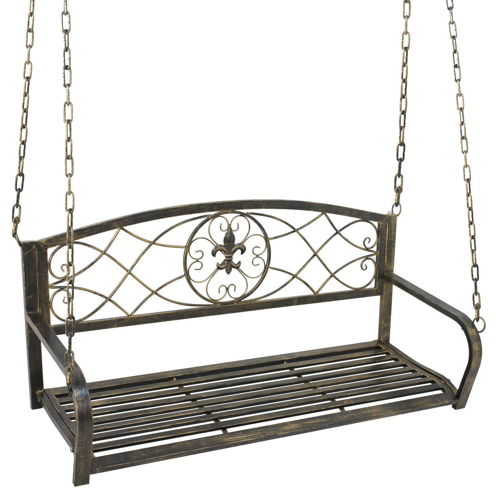 Zeny Metal Porch Swing Outdoor Patio Hanging Furniture 2 Person Iron Chains Yard Deck by