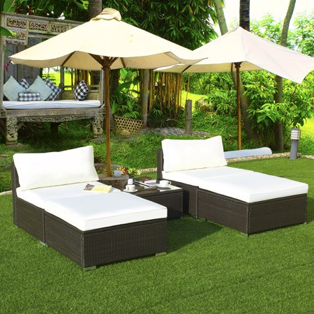Gymax 5 PC Lounge Patio Rattan Sectional Furniture Set Wicker Sofa Daybed Outdoor ()