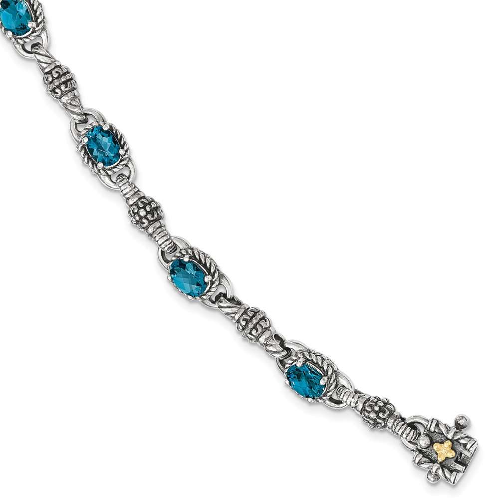 Sterling Silver With 14k London Blue Topaz 7.25 In. Bracelet by Kevin Jewelers