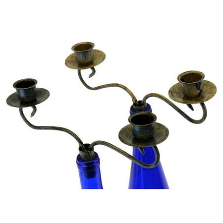 Southern Homewares Candelabra 2 Candle Wine Bottle Topper, Set of 2