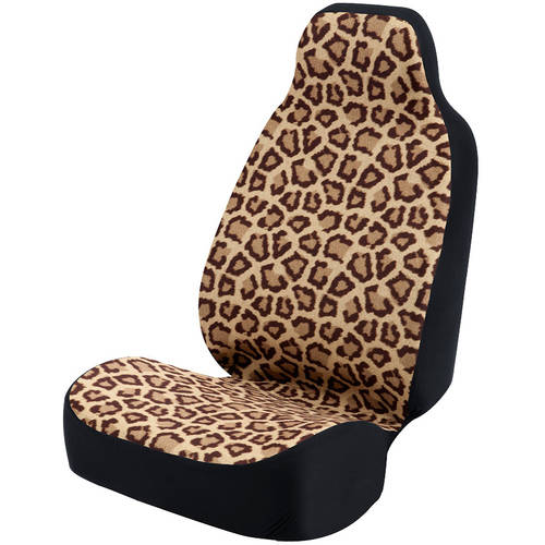 Coverking Universal Seat Cover Fashion Print, Ultra Suede, Natural Jaguar Brown Spots and Tan Background with Black Interlock Backing