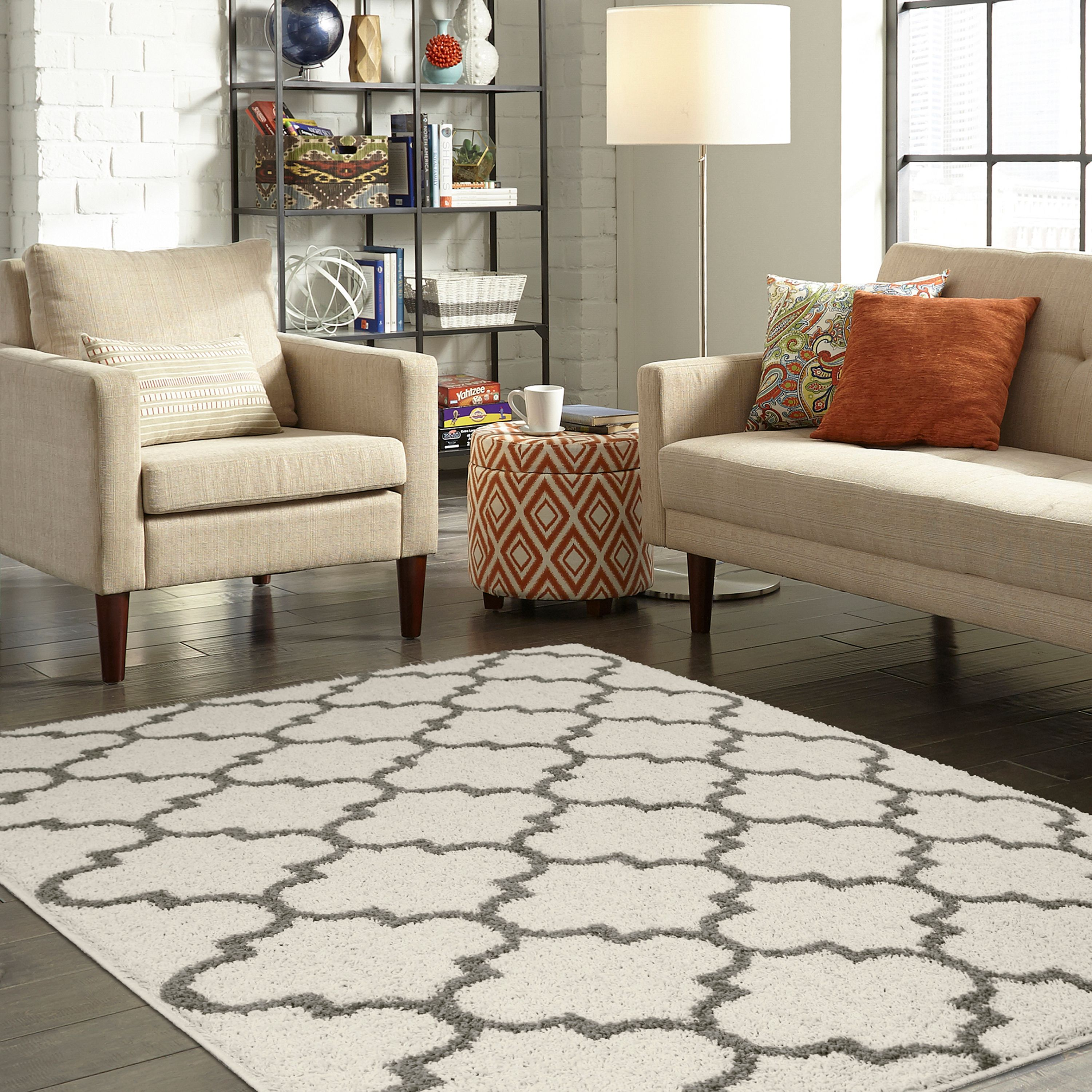 Mainstays Trellis 2 Color Shag Area Rug, Multiple Colors And Sizes