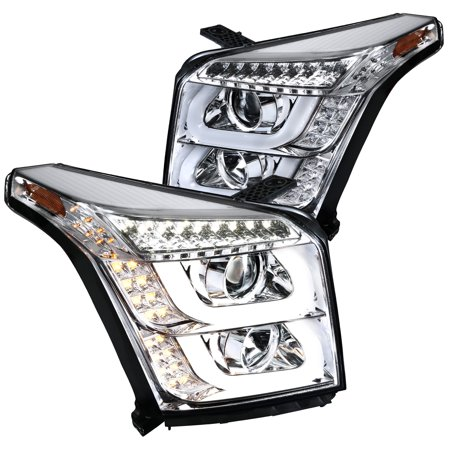 Spec-D Tuning For 2015-2018 GMC Yukon/ Yukon XL Clear LED Signal Projector Headlights Parking Lamps 2015 2016 2017 2018
