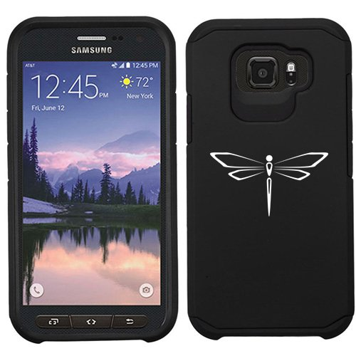 For Samsung Galaxy (S7 Active) Shockproof Impact Hard Soft Case Cover Dragonfly (Black)