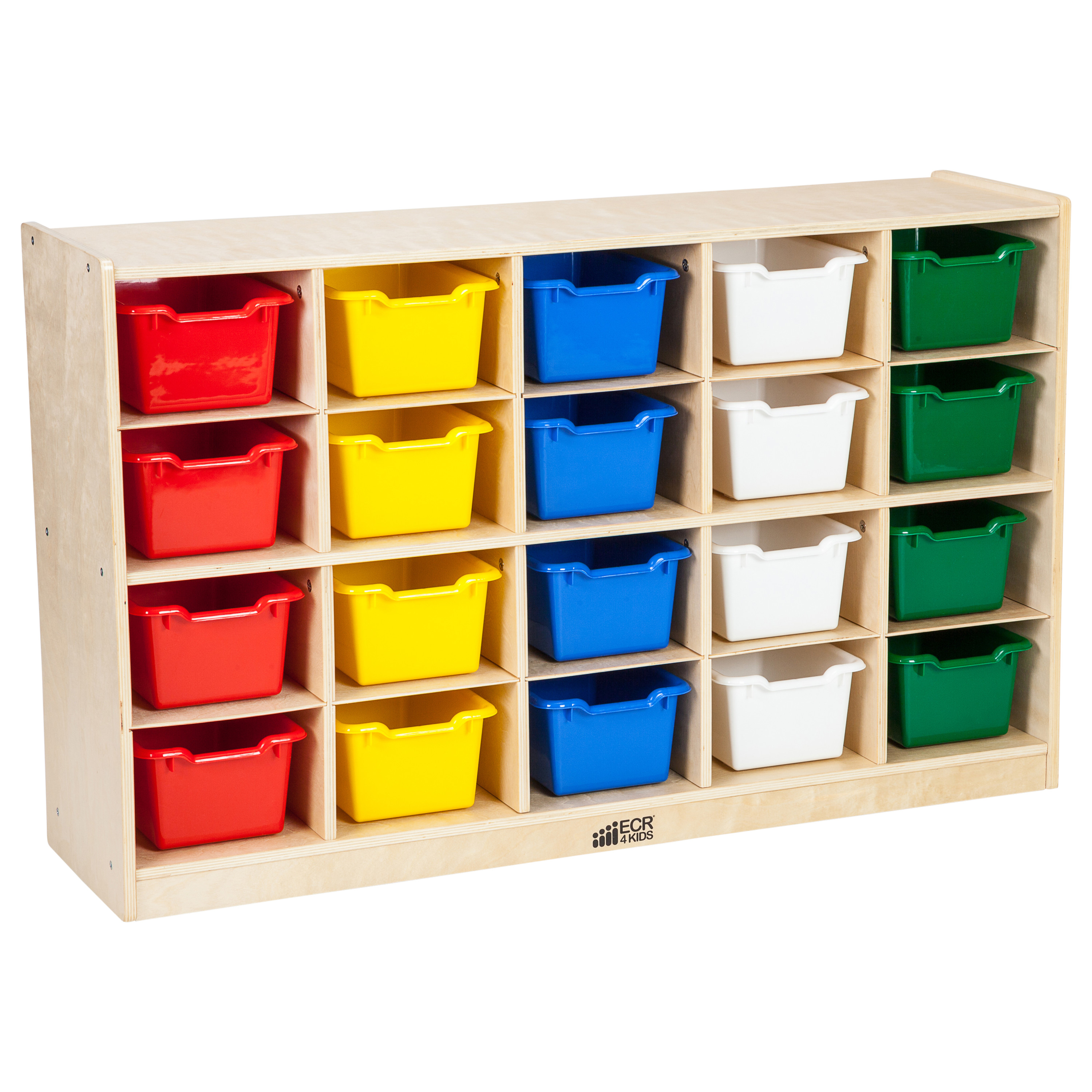 Birch 20 Cubby Tray Cabinet with Assorted Bins