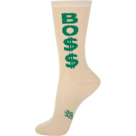 Boss Dollar Signs Sheer Crew Socks by Gumball - Gold Gumballs