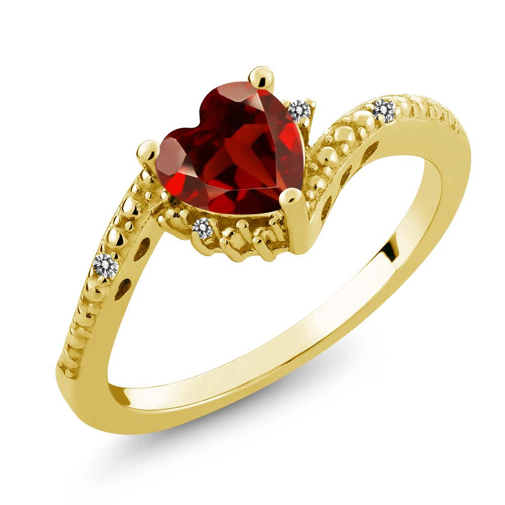 0.93 Ct Heart Shape Red Garnet White Diamond 18K Yellow Gold Plated Silver Ring by
