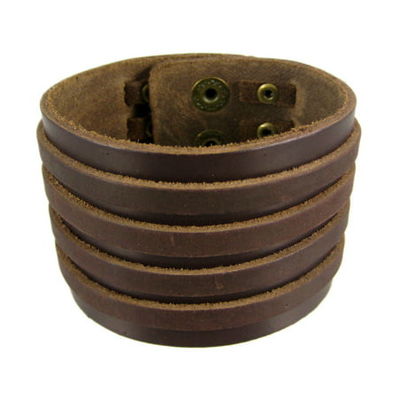 Brown Leather 4 Strip Chrome Studded Wristband