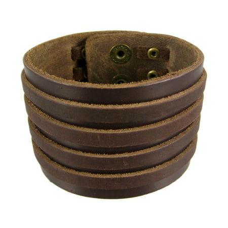 Brown Leather 4 Strip Chrome Studded Wristband - image 5 de 5