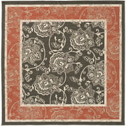 7.25' x 7.25' Trellis Tranquility Black, Cherry Red and Taupe Beige Square Shed-Free Area Throw Rug