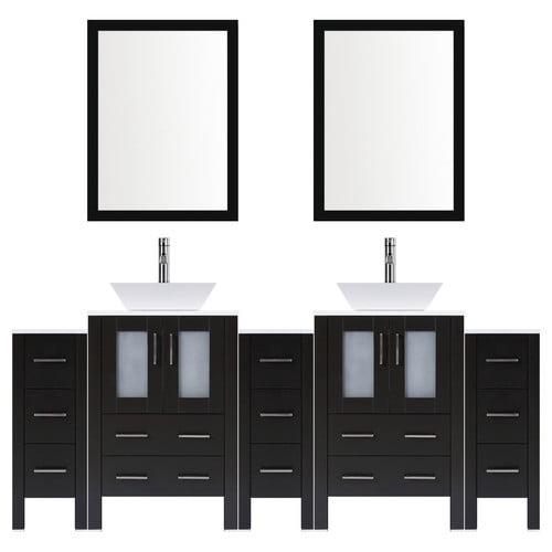 Lesscare Modern 96 Double Bathroom Vanity Set With Mirror Walmart Com Walmart Com