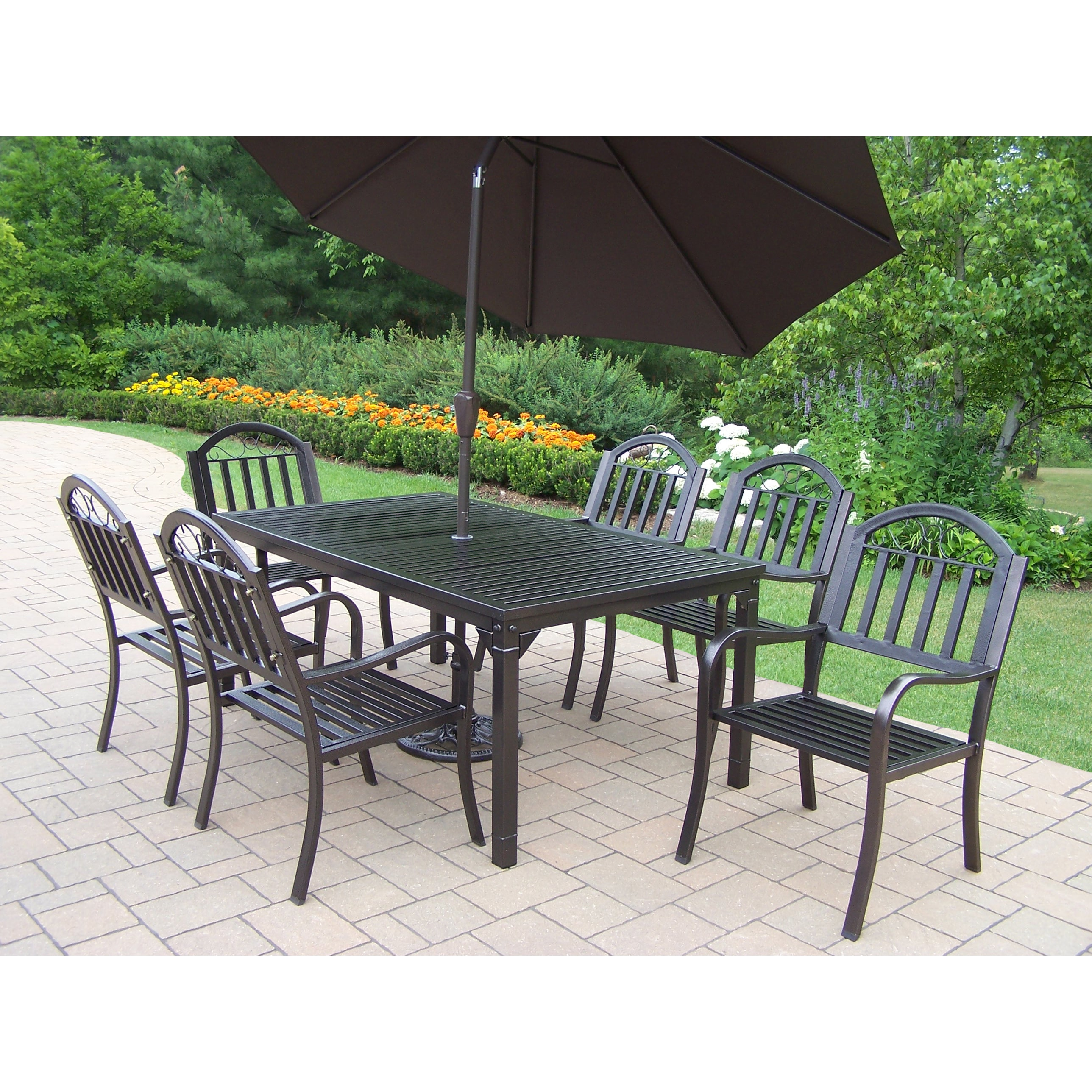 Oakland Living Corporation Hometown Brown Iron Shaded 9-piece Patio Dining Set