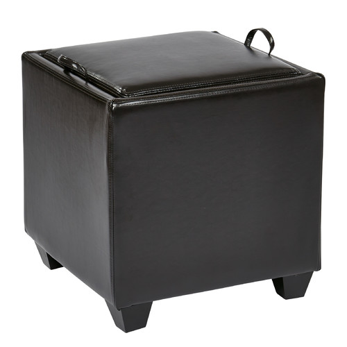 Eco Leather Storage Ottoman with Tray, Multiple Colors