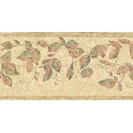 neutral leaf trail wallpaper border